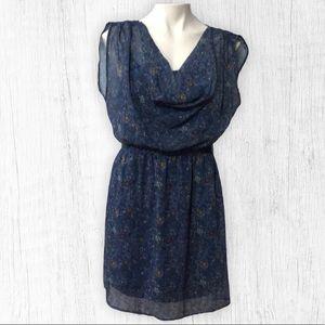 Cap Sleeve Blue Floral Dress